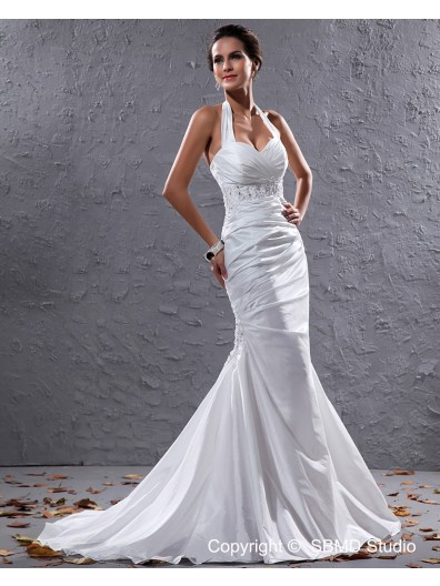 Taffeta Court Ivory Sleeveless Pleat / Beading Halter Lace Up Mermaid Empire Wedding Dress
