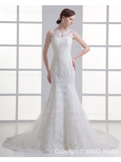 Ivory Zipper Applique / Beading Dropped Court Tulle Spaghetti Straps Sleeveless Mermaid Wedding Dress