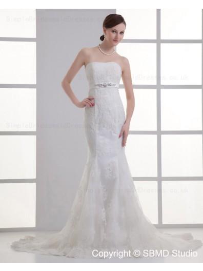 Hand Made Flower / Beading Tulle Sleeveless Mermaid Empire Beteau Ivory Zipper Court Wedding Dress