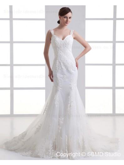 Zipper Dropped Sleeveless Tulle Ruffles / Beading Court Mermaid Spaghetti Straps Ivory Wedding Dress