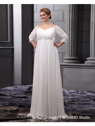 Long Chiffon Sleeve Zipper Column / Sheath / Plus Floor-length V Neck Size Empire Ivory Beadings / Sash Wedding Dress