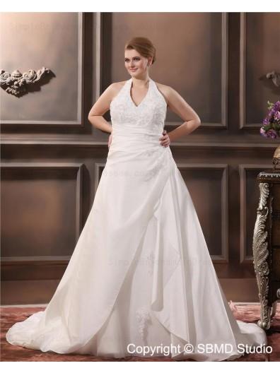 Satin Size A-line / Plus Sleeveless Applique Zipper Empire Ivory Halter Court Wedding Dress