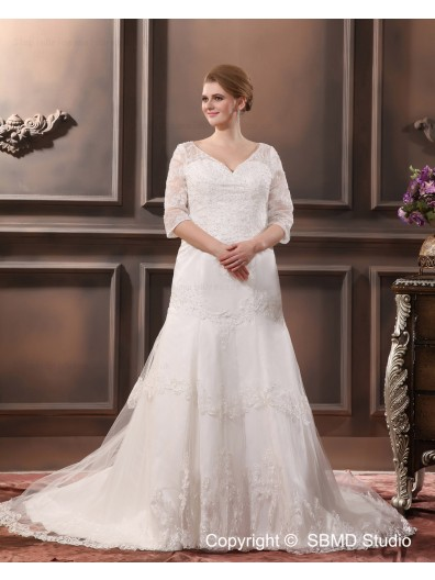 V Neck Lace Court Applique / Beading Dropped Sleeve Long Ivory Zipper A-line / Plus Size Wedding Dress