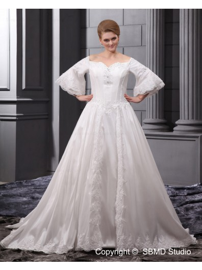 Sleeve A-line / Plus Ivory Long Zipper Beading / Applique Satin / Organza Sweetheart Natural Size Court Wedding Dress