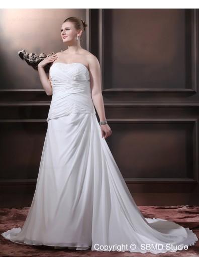 A-line / Plus Sleeveless Empire Sweep Ivory Satin / Chiffon Size Ruffles / Beading Strapless Lace Up Wedding Dress