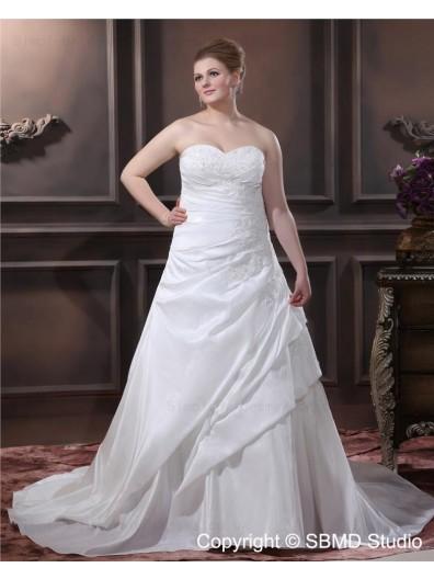 Lace Up Empire Sweep Embroidery / Beading Ivory A-line / Plus Size Taffeta Strapless Sleeveless Wedding Dress