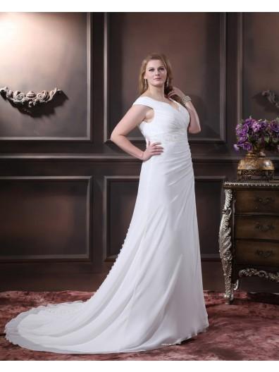 Sleeveless Chiffon Size Zipper V Neck Beading / Embroidery / Sash Empire Ivory A-line / Plus Chapel Wedding Dress