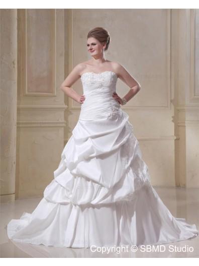 Lace Up Sweetheart Size Chapel A-line / Plus Taffeta Sleeveless Ivory Beading / Applique / Ruffles Dropped Wedding Dress
