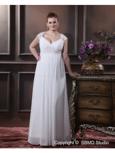 White Chiffon Empire Cap Sleeve Zipper Applique / Ruffles / Sash Size Column / Sheath / Plus Floor-length V Neck Wedding Dress