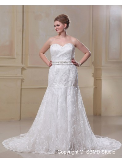 Sweep Sleeveless Satin / Lace Mermaid / Plus Lace Up Bow / Sash / Lace / Beading Dropped Size Strapless Ivory Wedding Dress