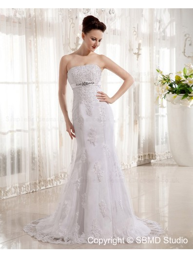 Sleeveless Zipper Mermaid Beading / Lace / Applique / Bow / Sash Strapless Court Empire White Satin Wedding Dress