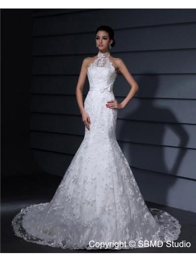 Zipper Satin Dropped Court Mermaid Ivory High Neck Sleeveless Applique / Lace / Sash Wedding Dress