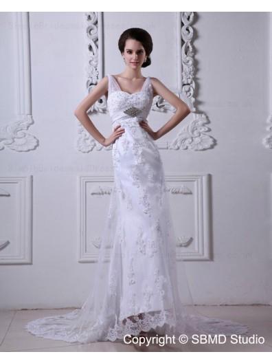 Sleeveless Lace Up Empire V Neck Applique / Beading / sash Column / Sheath White Court Satin / Tulle Wedding Dress