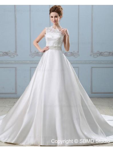 Beading / Sash One Shoulder Empire Zipper A-line Ivory Chapel Sleeveless Satin / Lace Wedding Dress