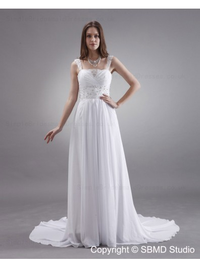 Column / Sheath Spaghetti Straps Sleeveless White Zipper Sweep Satin / Chiffon Beading / Sash Empire Wedding Dress