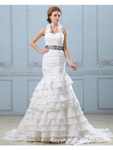 Taffeta Empire Zipper Tiered / Sash / Beading Sleeveless Mermaid Sweetheart Ivory Court Wedding Dress