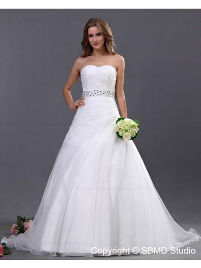 Beading / Ruffles / Beading Sweetheart Ball Gown Ivory Sleeveless Empire Zipper Organza Chapel Wedding Dress