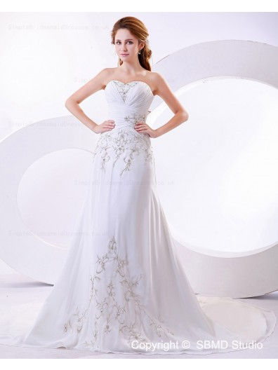 Satin Beading / Embroidery Lace Up Sleeveless Empire A-line Strapless Court Ivory Wedding Dress