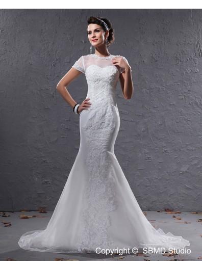 Mermaid Zipper Cap Sleeve Organza Jewel Ivory Court Dropped Applique / Beading Wedding Dress