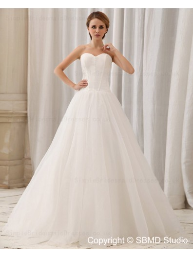 Layering Strapless Chiffon / Satin Natural Zipper Court Sleeveless A-line Ivory Wedding Dress