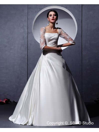 Long Beading / Embroidery / Ruffles Lace Up White Court Sleeve Square Satin Dropped A-line Wedding Dress