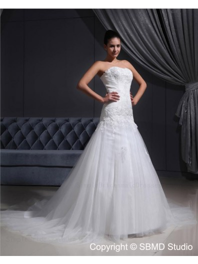 Strapless Sleeveless Lace Up Court Natural Ivory Beading A-line Satin / Tulle Wedding Dress