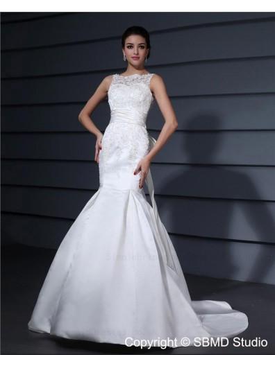 Applique / Beading / Bowknot Sleeveless Empire Bateau Zipper Lace / Satin Court Ivory Mermaid Wedding Dress