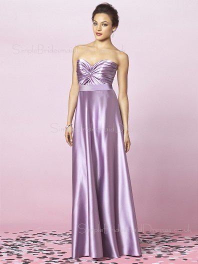 Lavender Empire A-line Elastic-Satin Sleeveless Bridesmaid Dress