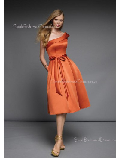 A-line Sleeveless Zipper One-Shoulder Satin Bridesmaid Dress