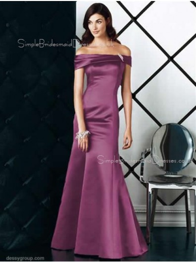 Off-the-shoulder Zipper Mermaid Short-Sleeve Satin Bridesmaid Dress