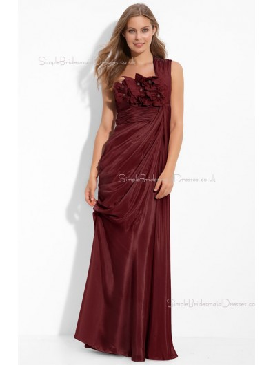 Empire Zipper Draped/Flowers/Ruffles Floor-length Chiffon Bridesmaid Dress