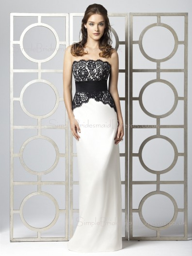 Strapless Zipper Sleeveless Sheath Lace/Sash Bridesmaid Dress