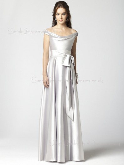 Elastic-Satin Natural Off-the-shoulder A-line Zipper Bridesmaid Dress