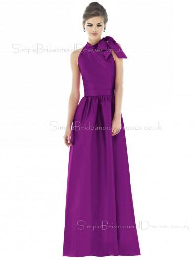 Bow/Draped/Ruffles A-line Sleeveless Floor-length Zipper Bridesmaid Dress