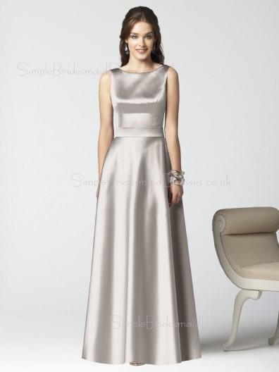 Satin Sleeveless Natural Floor-length Zipper Bridesmaid Dress