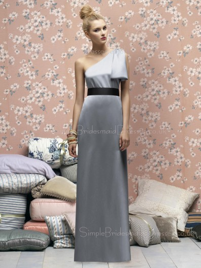 Zipper Floor-length Elastic-Satin Silver Ruffles/Sash Bridesmaid Dress