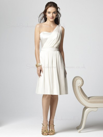 White Draped/Ruffles Chiffon A-line Zipper Bridesmaid Dress