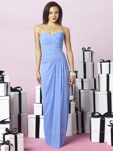 Sleeveless Zipper Sweetheart Light-Sky-Blue Floor-length Bridesmaid Dress