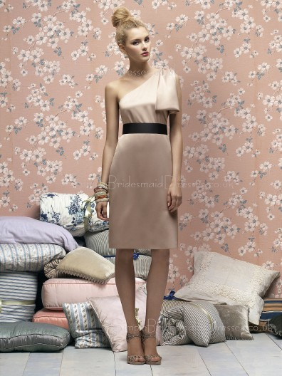 Bow/Sash One-Shoulder Pink Sheath Elastic-Satin Bridesmaid Dress