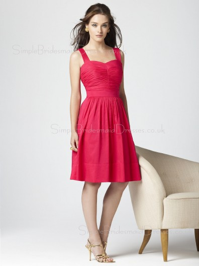 Taffeta Natural Knee-length A-line Straps Bridesmaid Dress