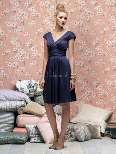 Satin-Chiffon V-neck A-line Knee-length Empire Bridesmaid Dress