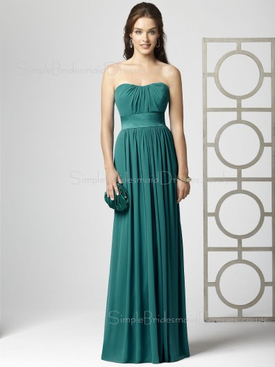 Blue Zipper Draped/Ruffles A-line Strapless Bridesmaid Dress