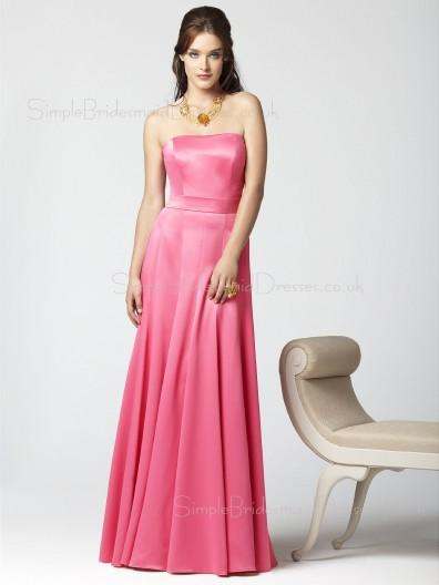 Elastic-Satin Draped A-line Zipper Pink Bridesmaid Dress