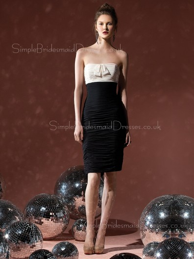 Sheath Natural Zipper Black Sleeveless Bridesmaid Dress