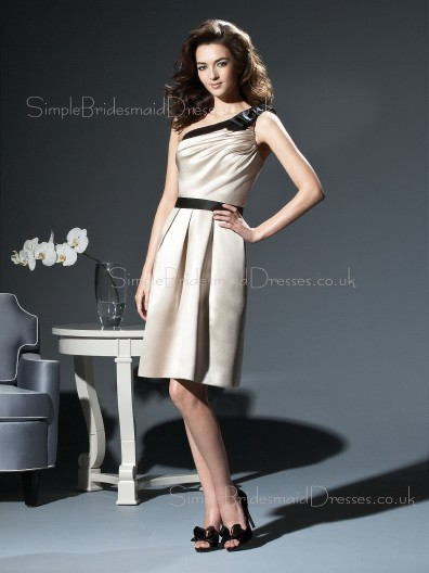 Satin Sleeveless One-Shoulder A-line Zipper Bridesmaid Dress