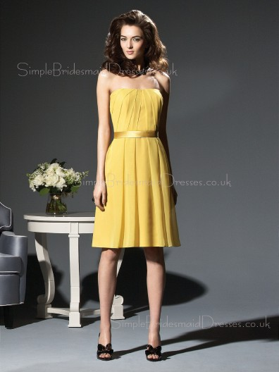 Zipper Knee-length Sleeveless Natural Chiffon Bridesmaid Dress