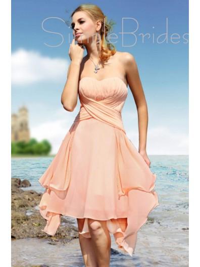 A-line Ruffles/Tiered Zipper Sleeveless Empire Bridesmaid Dress