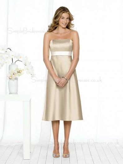 A-line Sash Zipper Champagne Empire Bridesmaid Dress