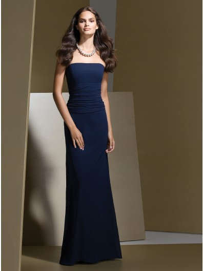 Strapless Natural Dark-Navy Sleeveless Floor-length Bridesmaid Dress