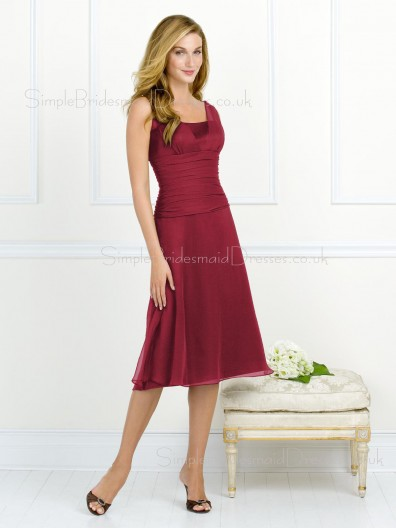 Straps Draped/Ruffles Dropped Burgundy A-line Bridesmaid Dress